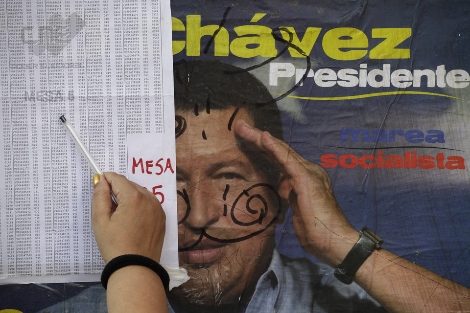 A woman looks for her name in the voters list at a polling station to vote for presidential elections in Caracas, Venezuela, Sunday, Oct. 7, 2012. President Hugo Chavez is running for re-election against opposition candidate Henrique Capriles.(AP Photo/Enric Marti)