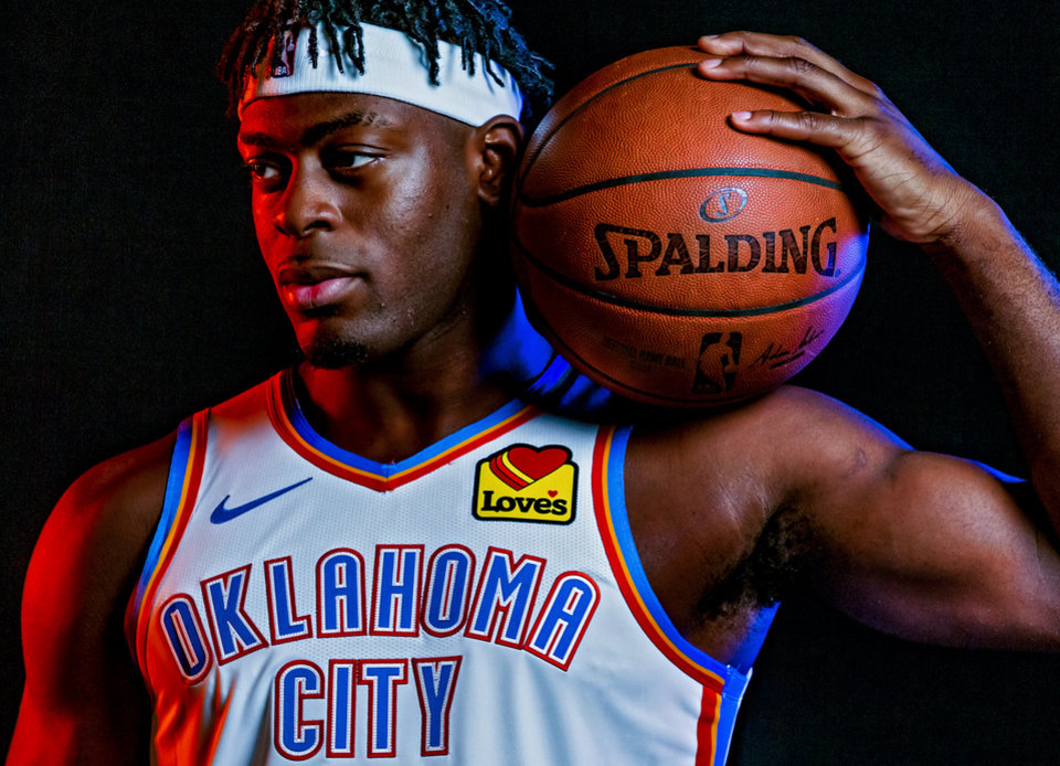 Photo - Luguentz Dort (5) poses for a photo during the Oklahoma City Thunder media day at the Chesapeake Energy Arena in Oklahoma City, Okla. on Monday, Sept. 30, 2019.  [Chris Landsberger/The Oklahoman]