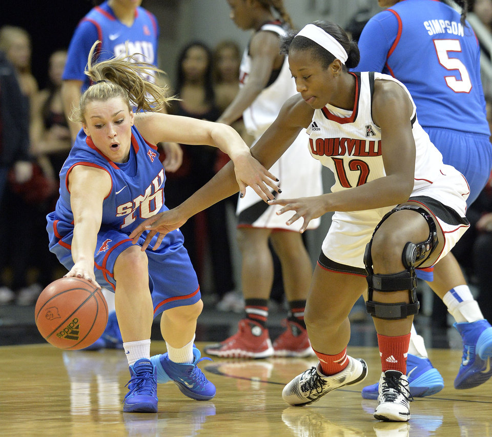 Louisville's Shawnta' Dyer, right, battles SMU's Korina Baker for a loose ball during the first half of an NCAA college basketball game Sunday Dec. 29, 2013, in Louisville, Ky. (AP Photo/Timothy D. Easley)
