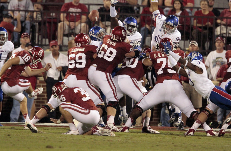 Michael Hunnicutt (18) kicks an extra point during the college football game between the University of Oklahoma Sooners (OU) and the University of Kansas Jayhawks (KU) at Gaylord Family-Oklahoma Memorial Stadium in Norman, Okla., on Saturday, Oct. 20, 2012. Photo by Steve Sisney, The Oklahoman