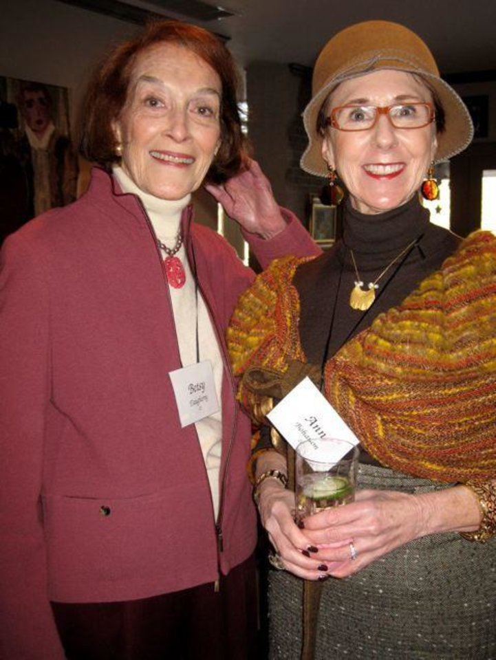 FRIENDS CELEBRATE JANUARY....Betsy Daugherty and Annie Bohanon were  at the birthday party. (Photo by Helen Ford Wallace).