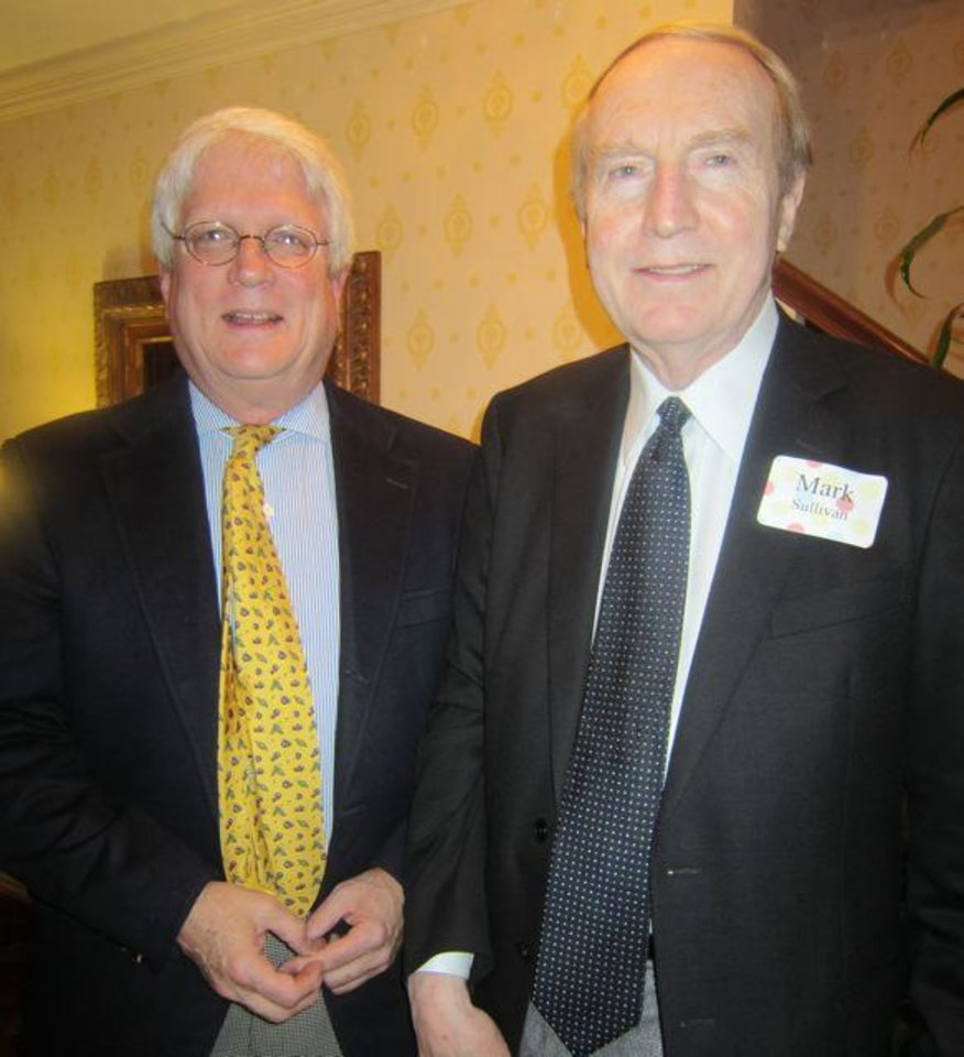 Russ Walker and Dr. Mark Sullivan enjoy the party. (Photo by Helen Ford Wallace).