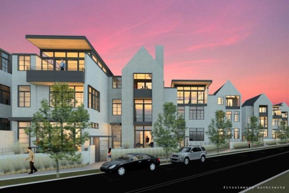 Photo -  Townhomes are set to be built along Dewey Avenue where a playground was once located at the Villa Teresa campus. [Fitzsimmons Architects drawing]