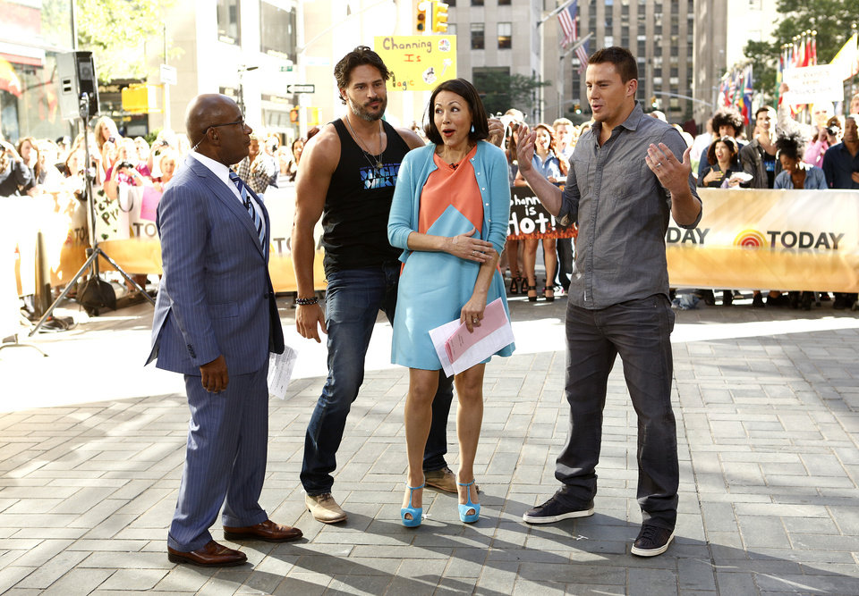 Photo -   This June 27, 2012 photo released by NBC shows co-hosts Al Roker, left, and Ann Curry, with actors Joe Manganiello, second left, and Channing Tatum, right, on the