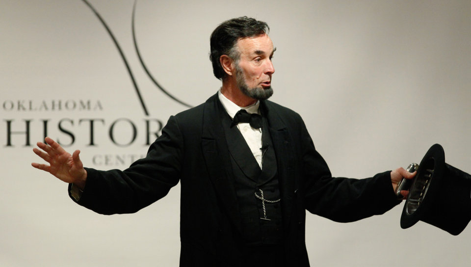 Interpreter Fritz Klein looks like Abraham Lincoln, dresses like Abraham Lincoln and talks with the same dialect Lincoln spoke with. For one hour, Klein becomes the United States' 16th President when he performs in front of groups, large and small,  across the country, educating citizens and students about one of this country's most popular and iconic presidents. Klein portrays Lincoln in conjunction with the Lincoln Institute for Education in Springfield, Illinois.  He was photographed at the Oklahoma History Center on Thursday, Feb. 9, 2012.   The Oklahoma History Center is hosting Abraham Lincoln for a series of  public performances this week. This special Sesquicentennial program  features nationally known Lincoln interpreter Fritz Klein who brings America's Civil War to life for students and adults and touch on President Lincoln's relationship to Indian tribes.  This first-person living history event  puts the war into context while  highlighting connections to the people of 19th Century Oklahoma.  Special performances for student groups are Thursday, Feb. 9 and  Friday Feb. 10.  Photo by Jim Beckel, The Oklahoman