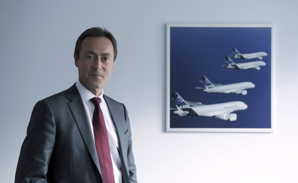 Photo - Fabrice Bregier, the CEO of Airbus, poses for a photo before an interview with The Associated Press in Washington, Thursday, Oct. 24, 2013. (AP Photo/Susan Walsh)