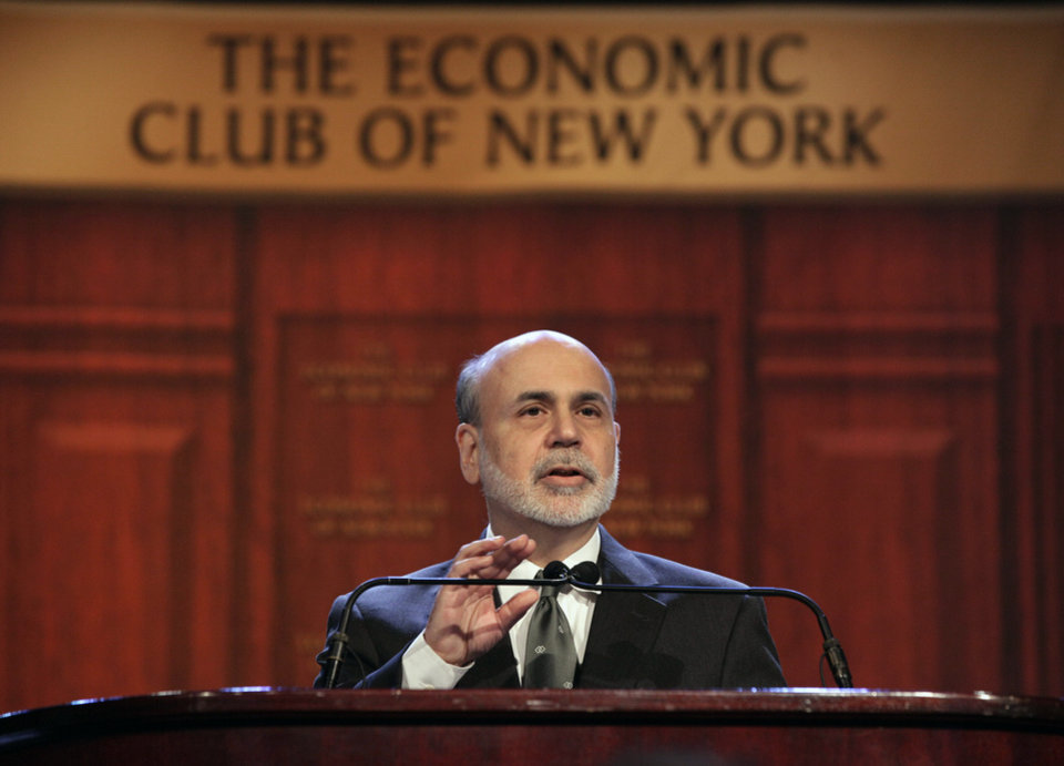 Federal Reserve Chairman Ben Bernanke addresses a luncheon gathering of The Economic Club of New York, in New York, Tuesday, Nov. 20, 2012. Bernanke on Tuesday urged Congress and the Obama administration to strike a budget deal to avert tax increases and spending cuts that could trigger a recession next year. Without a deal, the measures known as the