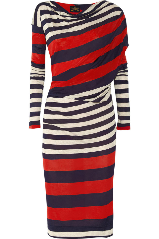 Photo - A few chic ways to accessorize this Fourth of July include this Vivienne Westwood Anglomania toga striped jersey dress, $430. (Courtesy Net-a-porter.com via Los Angeles/MCT)
