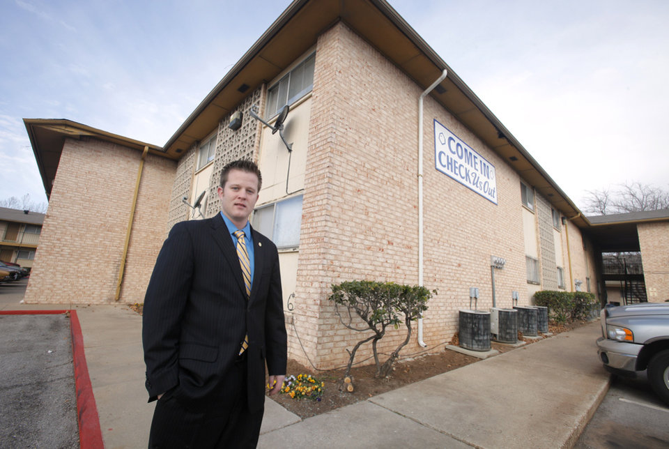 David Dirkschneider, multifamily broker with Price Edwards & Company, at the Newport Granada Apartments, 3407 NW 39 Street, in Oklahoma City Friday, Jan 13, 2012. Photo by Paul B. Southerland, The Oklahoman