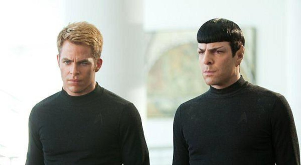 "Chris Pine as James T. Kirk and Zachary Quinto as Spock in ""Star Trek Into Darkness.""  Paramount Pictures. <strong></strong>"