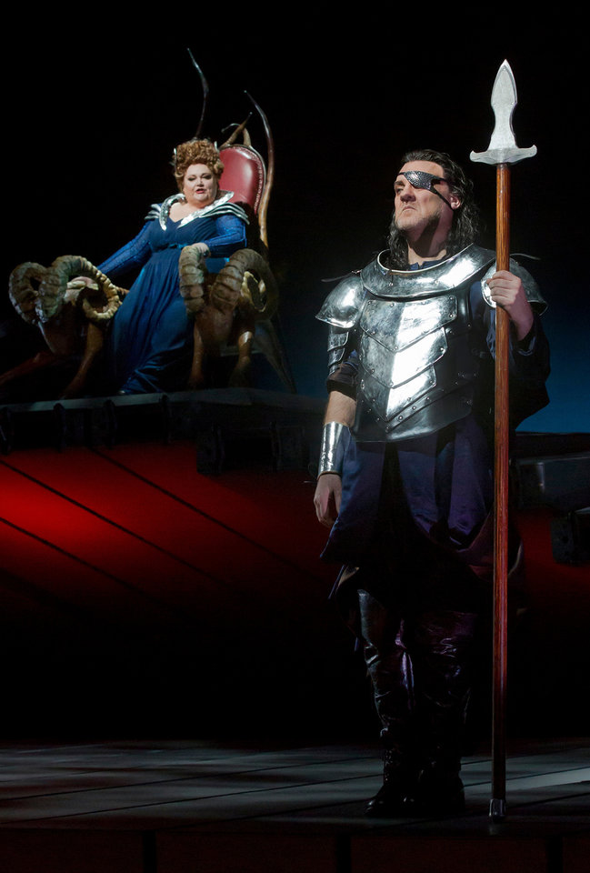 Photo -   This April 9, 2012 photo provided by the Metropolitan Opera shows Stephanie Blythe as Fricka and Bryn Terfel as Wotan in a scene from Wagner's,
