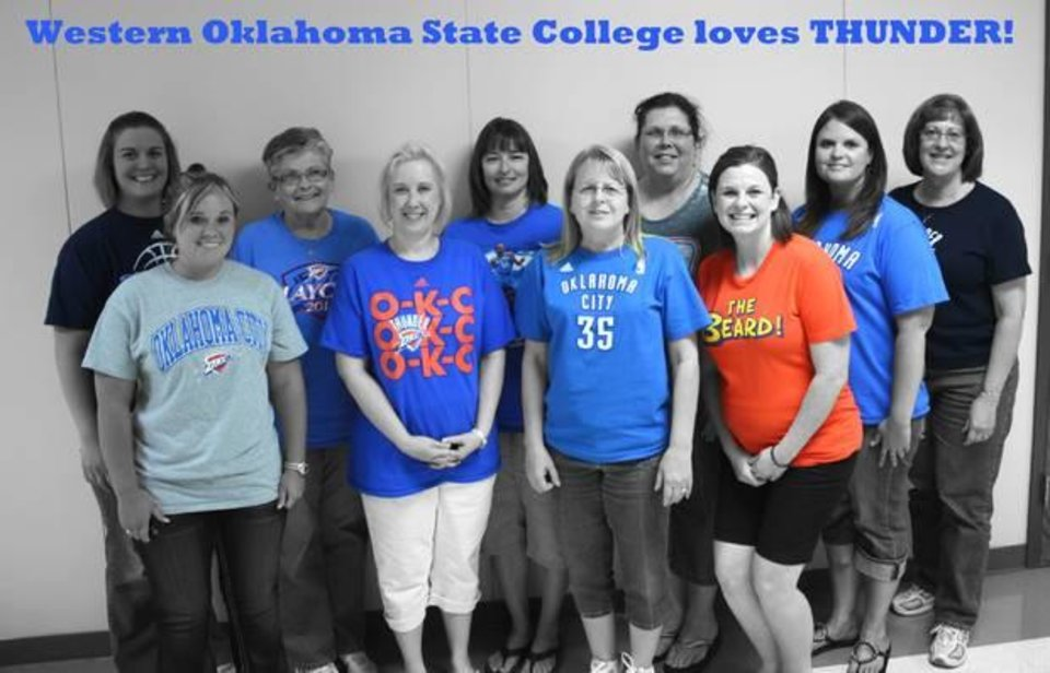 Photo - Western Oklahoma State College Business Office proclaims their love for the Thunder.