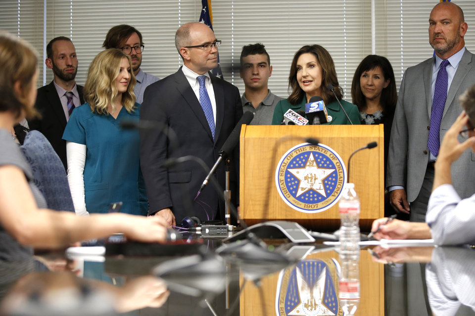Photo - State schools superintendent Joy Hofmeister talks during a press conference announcing that the criminal case against against her has been dropped in Oklahoma City, Tuesday, Aug. 1, 2017. Photo by Bryan Terry, The Oklahoman