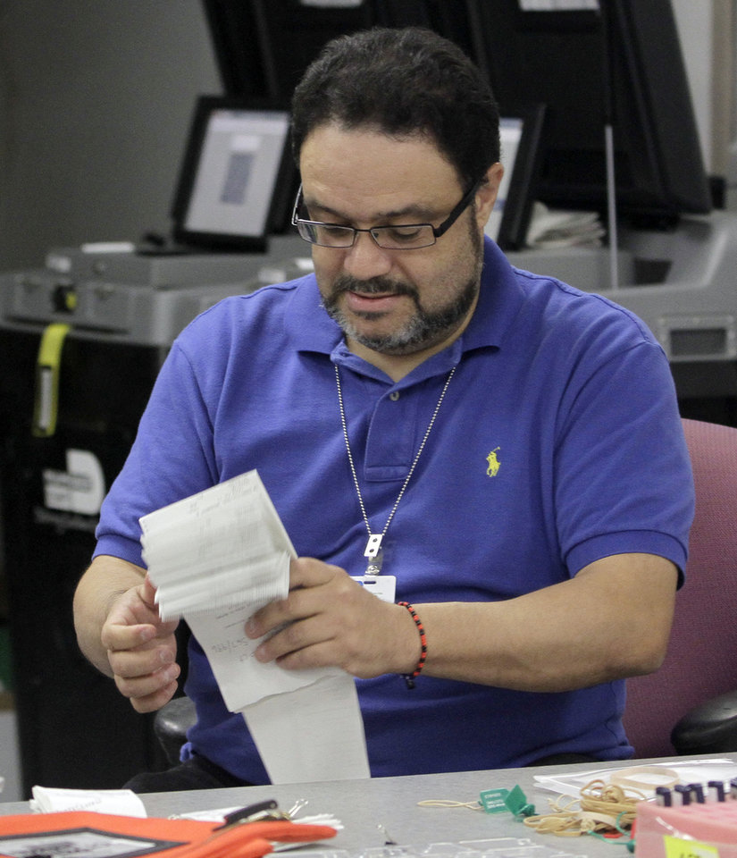 "Miami-Dade Elections Department employee Mandy Montanez folds absentee ballot tally reports in Doral, Fla., Thursday, Nov. 8, 2012. Elections Supervisor Penelope Townsley says the agency has ""no more than 500"" ballots to count Thursday. Elections workers are uploading some 21,000 ballots into the system today after uploading 10,000 on Wednesday.(AP Photo/Alan Diaz)"