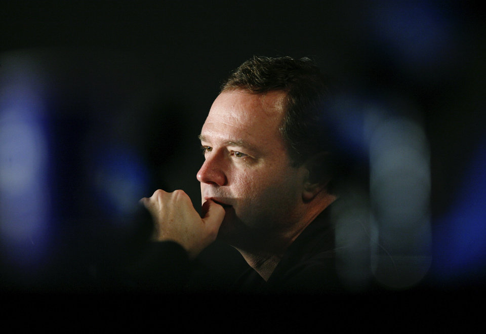 Photo - NCAA TOURNAMENT: University of Kansas head coach Bill Self listens at a news conference at the college basketball Final Four Sunday, April 6, 2008, in San Antonio. Kansas plays Memphis in the championship game on Monday. (AP Photo/Charlie Neibergall)  ORG XMIT: FF114