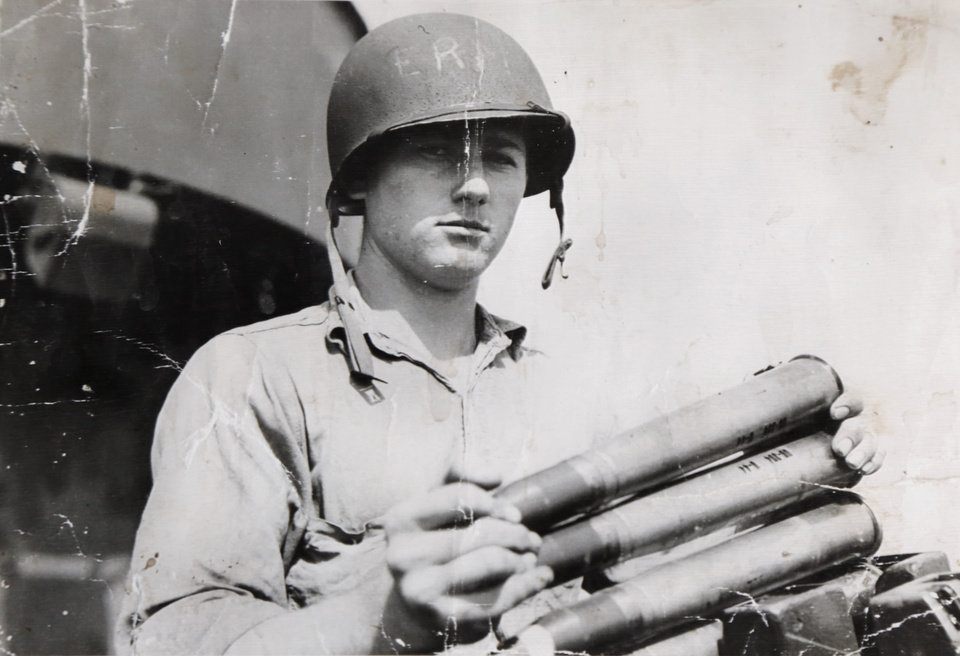 Photo -  Roy Wright, at age 18, serving in the U.S. Navy. Wright, of northwest Oklahoma City, manned an antiaircraft gun on the USS Enterprise during World War II. [Photo provided by Roy Wright]