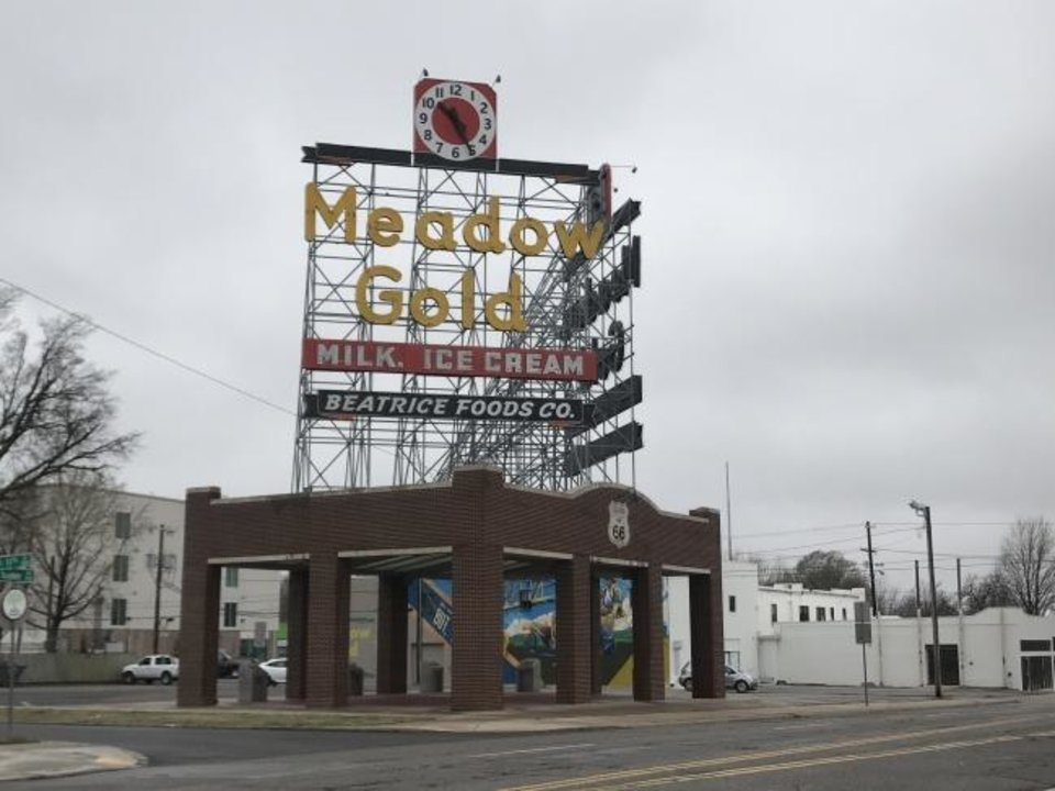 Photo -  The Meadow Gold District is quiet on an early Sunday morning along Route 66 in Tulsaon March 15. Businesses and landmarks along Route 66 are preparing for closures and various travel bans due to COVID-19.[Kristi Eaton/For The Oklahoman]