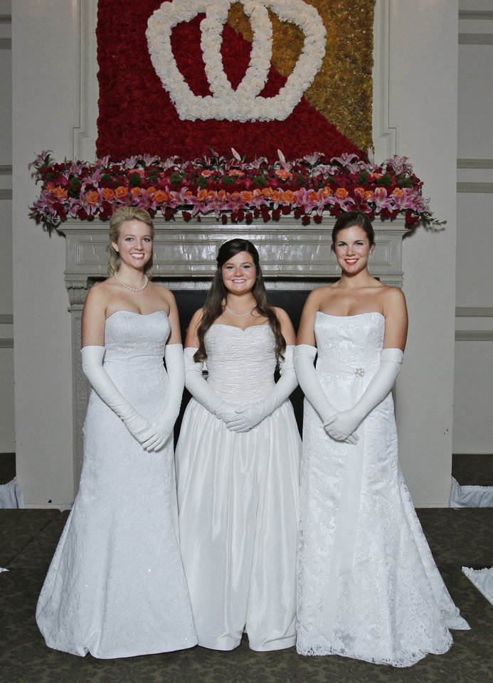 Debutantes, from left, Alexis Yasmine Hefner, Laura Margaret Thompson and Emma Ann Roush at Oklahoma City Golf and Country Club Saturday, Nov. 28, 2009. Photo by Doug Hoke, The Oklahoman