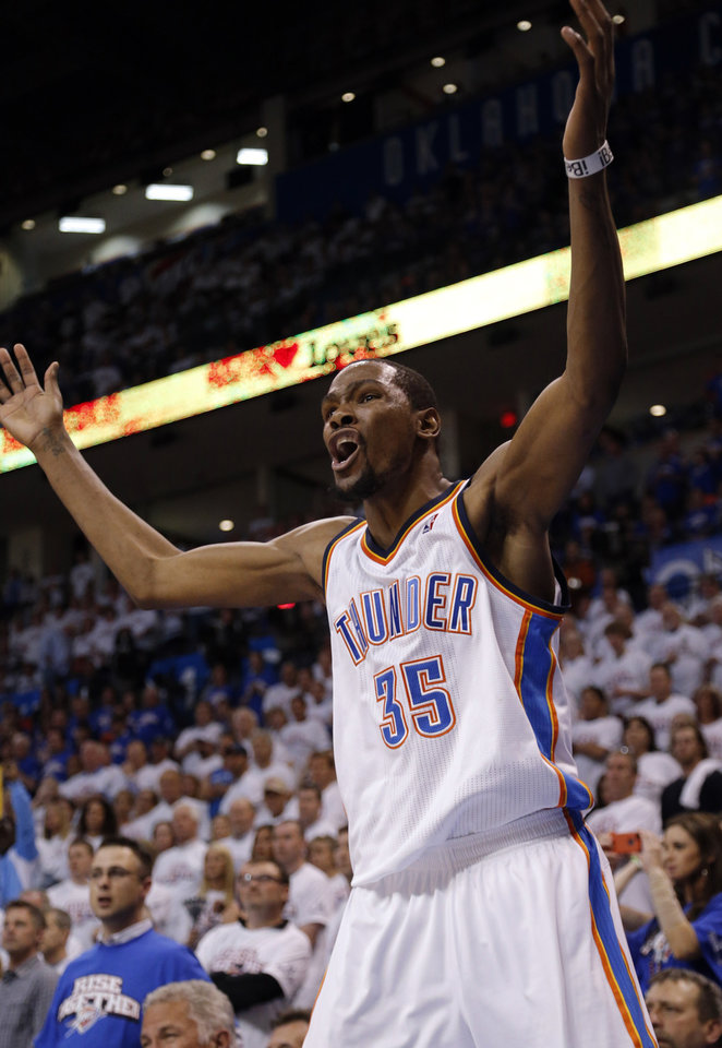 Oklahoma City's Kevin Durant (35) argues for a call in the final seconds of Game 2 in the second round of the NBA playoffs between the Oklahoma City Thunder and the Memphis Grizzlies at Chesapeake Energy Arena in Oklahoma City, Tuesday, May 7, 2013. Memphis won 99-93. Photo by Sarah Phipps, The Oklahoman