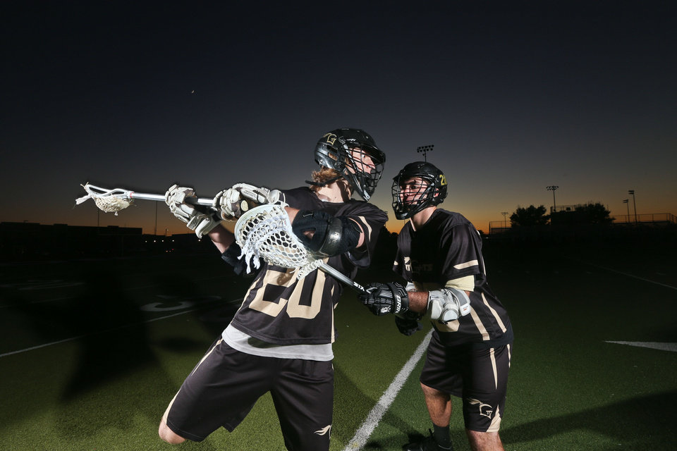 Sam Heaton, left and Jake Hobbs, who play for the OKC Knights lacrosse team, signed to play at Lindenwood University, a Division II school in St. Charles, Mo. Heaton and Hobbs are seniors at Edmond North. Photo courtesy David Prentice