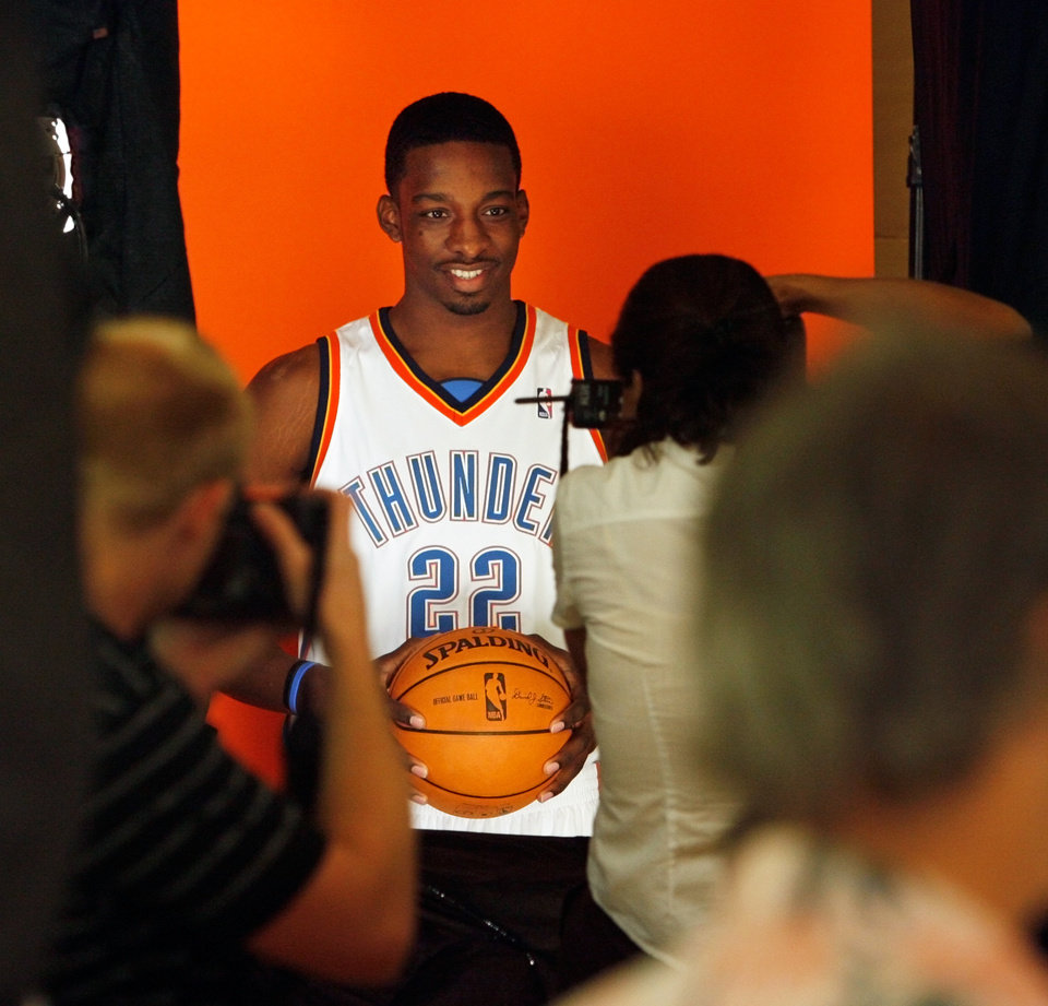 Photo - Jeff Green poses for a photo during media day for the Oklahoma City Thunder NBA basketball team at the Skirvin Hilton hotel in Oklahoma City, Monday, September 29, 2008. BY NATE BILLINGS, THE OKLAHOMAN. ORG XMIT: KOD