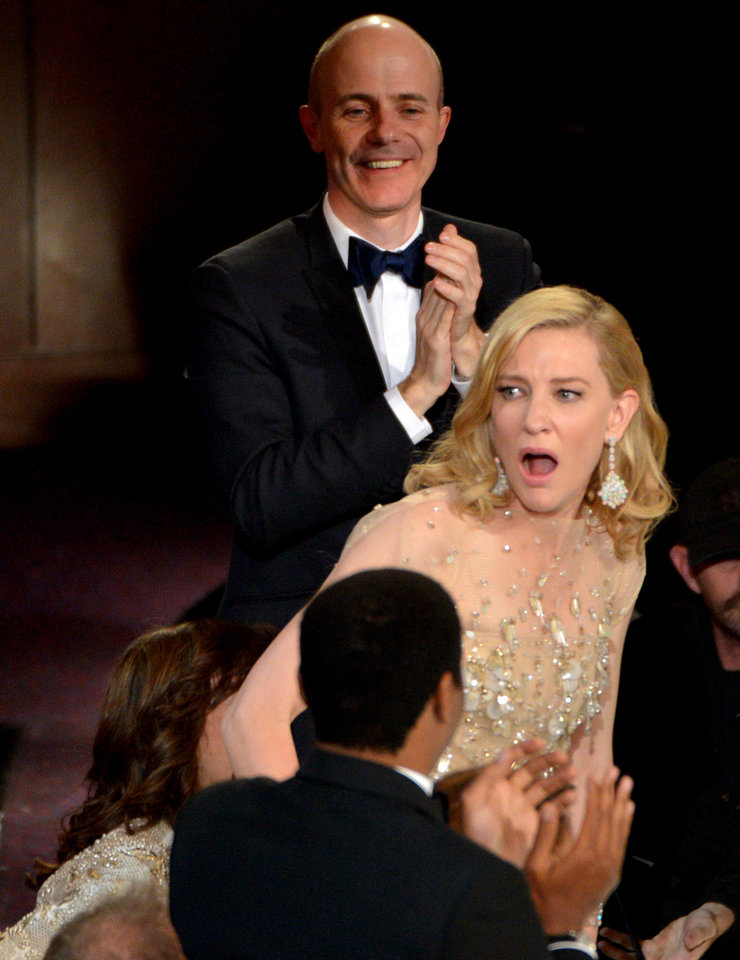 Photo - Cate Blanchett reacts after winning the award for best actress in a leading role for