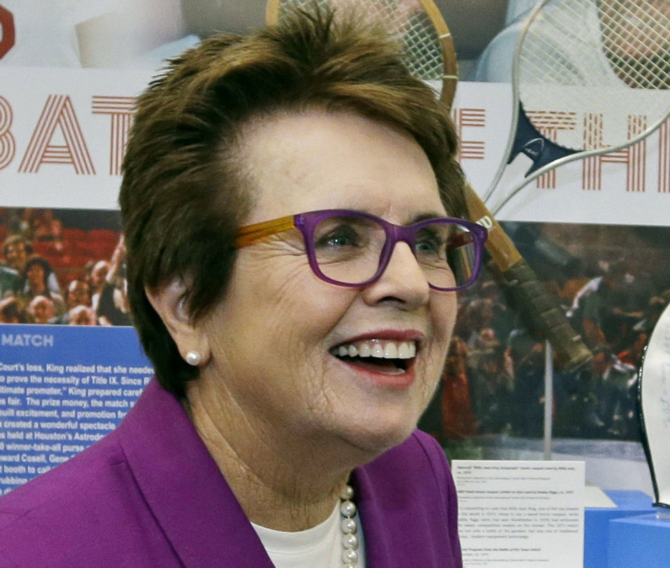 Photo - FILE - In this Sept. 5, 2013, file photo, Billie Jean King speaks in front of a display at the U.S. Open tennis tournament in New York. King believes Wimbledon finalists Petra Kvitova and Eugenie Bouchard are creating one of the most exciting times in women's tennis in decades. King ought to know. She helped start the Women's Tennis Association more than 40 years ago. (AP Photo/Darron Cummings, File)