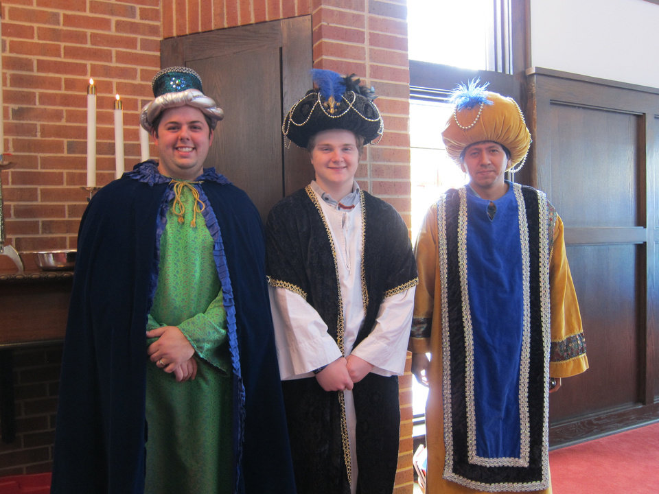 Photo - Tyler Davis of Yukon, Alex McLoughlin of Edmond and Joseph Matias of Oklahoma City pose as Wise Men a few minutes before participating in a recent Epiphany service at St. Augustine of Canterbury Episcopal Church, 14700 N May.  Carla Hinton - The Oklahoman