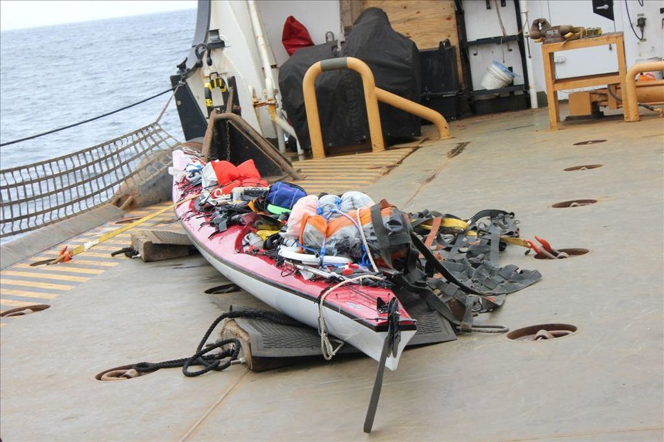 Photo - This Tuesday, June 10, 2014 image provided by the U.S. Coast Guard shows the kayak of a rescued boater about 60 miles southwest of Santa Barbara's Point Conception near southern California. The U.S. Coast Guard says a man is