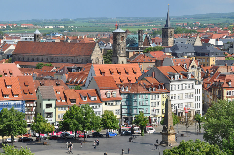 Erfurt, with its half-timbered, many-steepled medieval townscape and shallow river gurgling through the middle, is an inviting destination. (Photo by Cameron Hewitt)