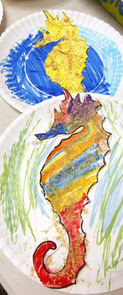 Photo -  Seahorse artwork done by students while in summer camp at the Oklahoma City Zoo.  A Duke University expert recommends educational programs during the summer to keep kids academically sharp.  Photo by Paul B. Southerland, The Oklahoman  PAUL B. SOUTHERLAND