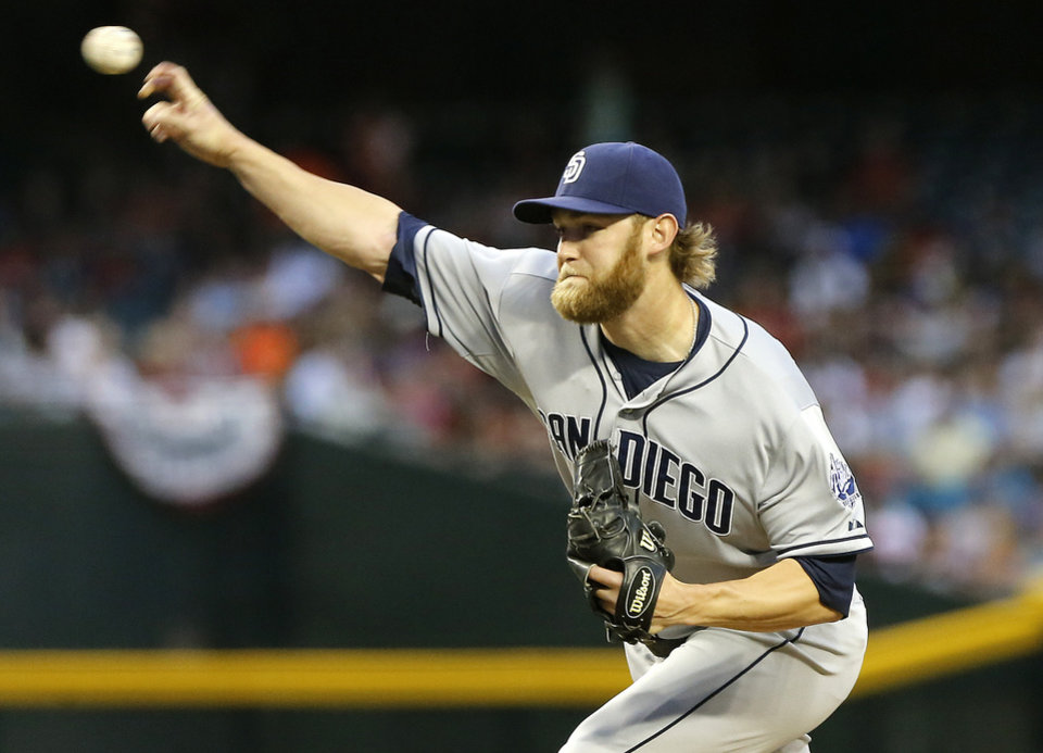 Photo - San Diego Padres pitcher Andrew Cashner delivers against the Arizona Diamondbacks during the first inning of a baseball game on Saturday, May 25, 2013, in Phoenix. (AP Photo/Matt York)