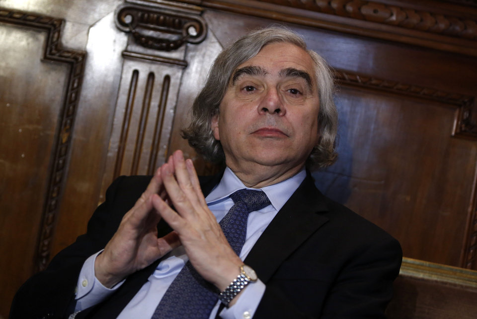Photo -  U.S. Secretary for Energy Ernest Moniz listens to reporters' questions Tuesday at the end of the G7 meeting for Energy in Rome. AP Photo   Riccardo De Luca -