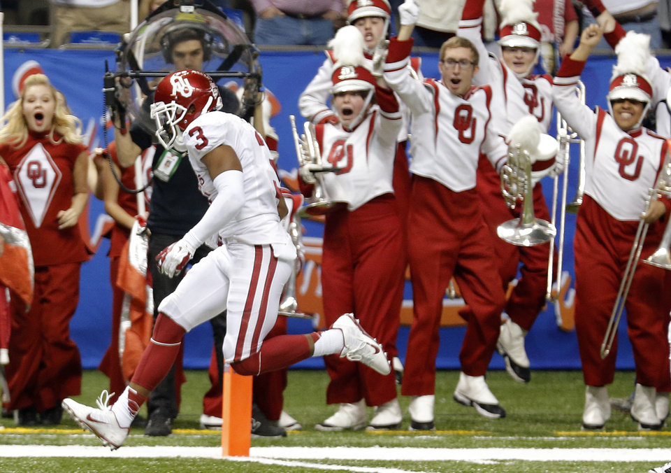 Photo - Oklahoma's Sterling Shepard (3) scores a touchdown during the NCAA football BCS Sugar Bowl game between the University of Oklahoma Sooners (OU) and the University of Alabama Crimson Tide (UA) at the Superdome in New Orleans, La., Thursday, Jan. 2, 2014.  .Photo by Chris Landsberger, The Oklahoman