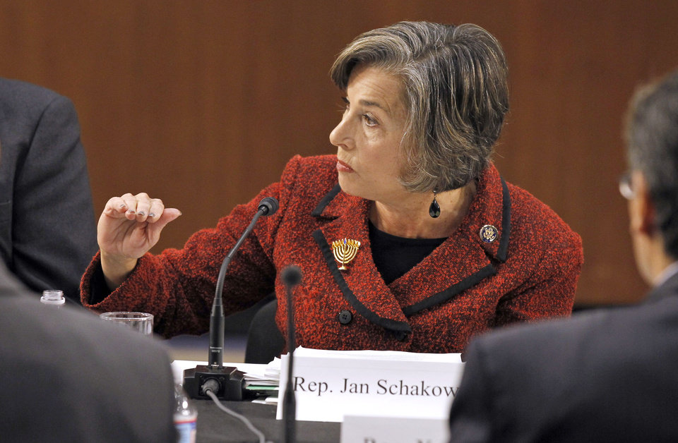 "Photo - FILE - In this Dec. 1, 2010, file photo Rep. Jan Schakowsky, D-Ill., speaks during a  Debt Commission meeting on Capitol Hill in Washington. In 2013 with a nation still split over President Barack Obama's healthcare overhaul Schakowsky, who has long supported coverage for the uninsured, is predicting vindication for the Affordable Care Act once people see how the program really works. ""It's harder to sell what is a pretty new idea for Americans while it is still in the abstract,"" she said. ""I think as people experience it, they're going to love it, much like Medicare."" (AP Photo/Alex Brandon, File)"
