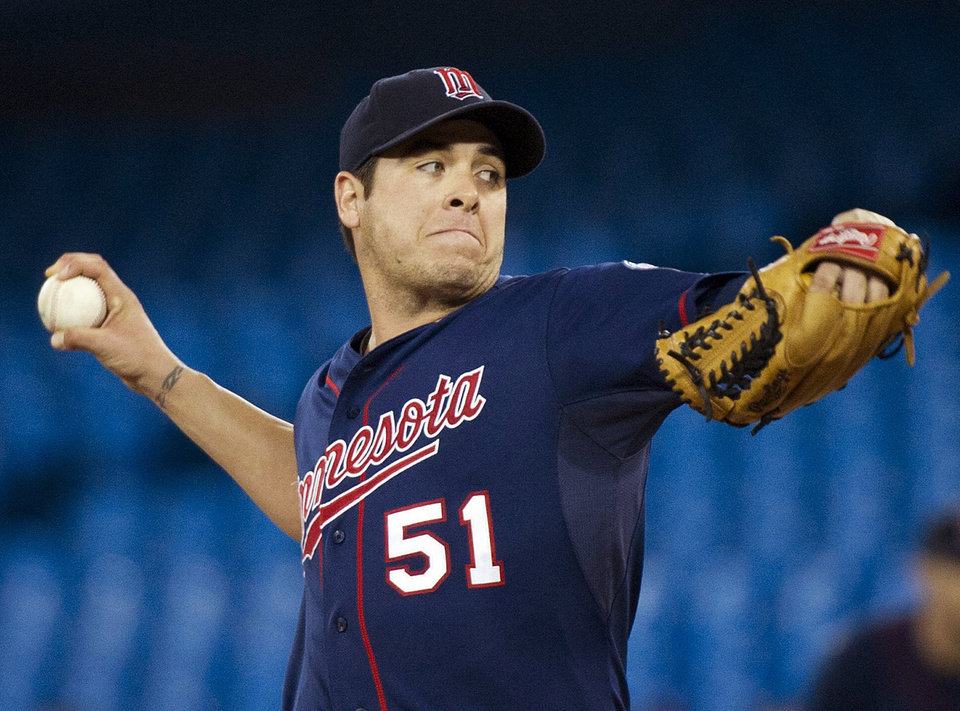 Photo -   Minnesota Twins starting pitcher Anthony Swarzak works against the Toronto Blue Jays during the second inning of a baseball game in Toronto on Tuesday, Oct. 2, 2012. (AP Photo/The Canadian Press, Nathan Denette)