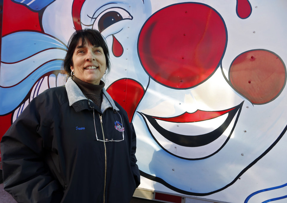 Photo -  General Manager Tavana Brown talks Tuesday about the Hugo-based Kelly Miller Circus. [PHOTO BY STEVE SISNEY, THE OKLAHOMAN]