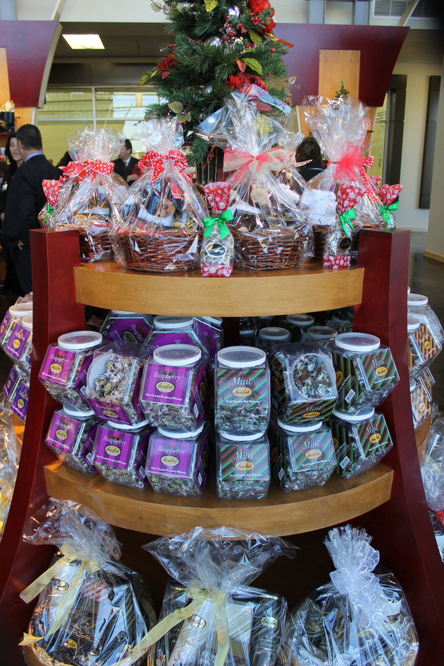 Photo - Bedre chocolate products are shown at the new Chiskasaw Welcome Center in Murray County.