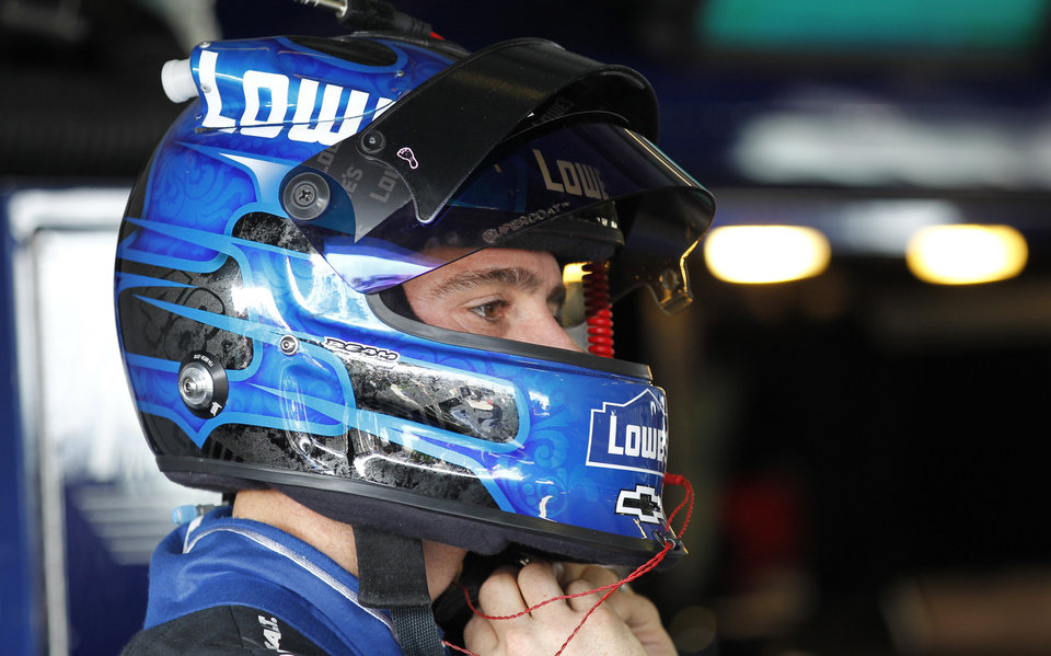Driver Jimmie Johnson adjusts his helmet during the practice session for Sunday's NASCAR Sprint Cup Series auto race, Sunday, at the Homestead-Miami Speedway in Homestead, Fla., Friday, Nov. 16, 2012. (AP Photo/Terry Renna)
