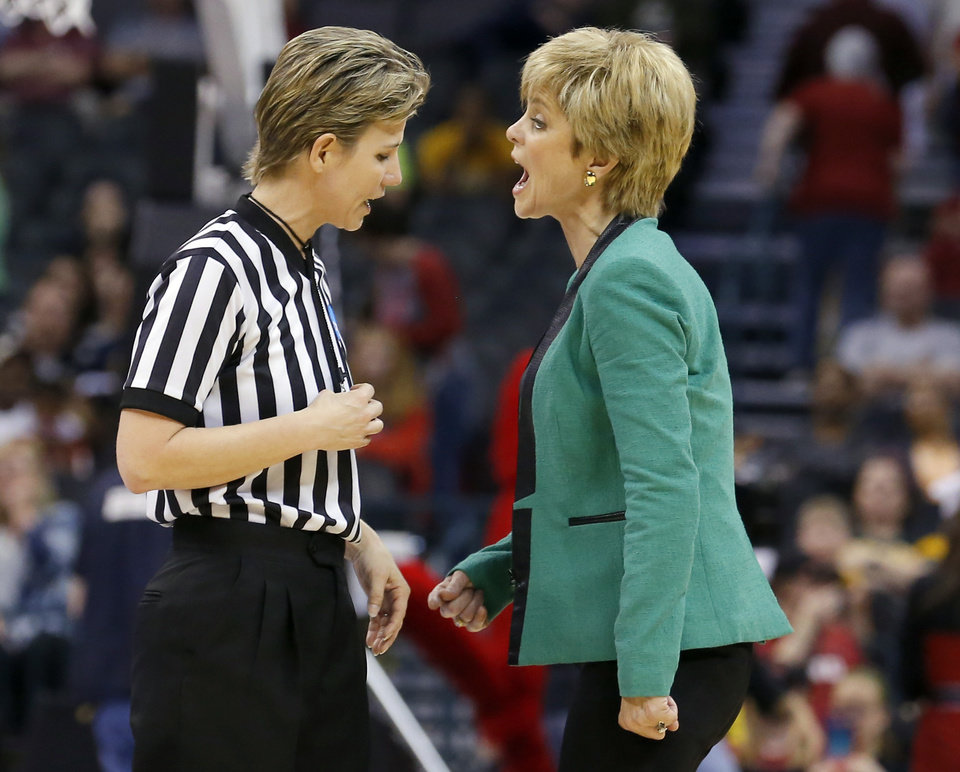 Baylor head coach Kim Mulkey during during college basketball game between Baylor University and the Louisville at the Oklahoma City Regional for the NCAA women's college basketball tournament at Chesapeake Energy Arena in Oklahoma City, Sunday, March 31, 2013. Photo by Sarah Phipps, The Oklahoman