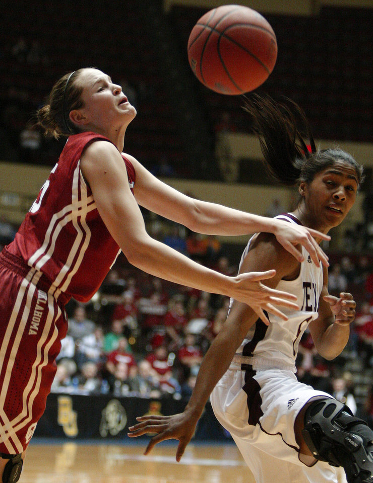OU's Whitney Hand (25) and Texas A&M's Sydney Colson (51) go for the ball during the women's college basketball Big 12 Championship tournament game between the University of Oklahoma and Texas A&M in Kansas City, Mo., Friday, March 11, 2011.  Photo by Bryan Terry, The Oklahoman