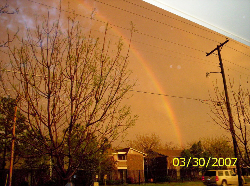 The calm after the storm! Pretty rainbow. Looking east off of our front porch in Bethany. Community Photo By: Teresa Chapman Submitted By: Teresa, Bethany