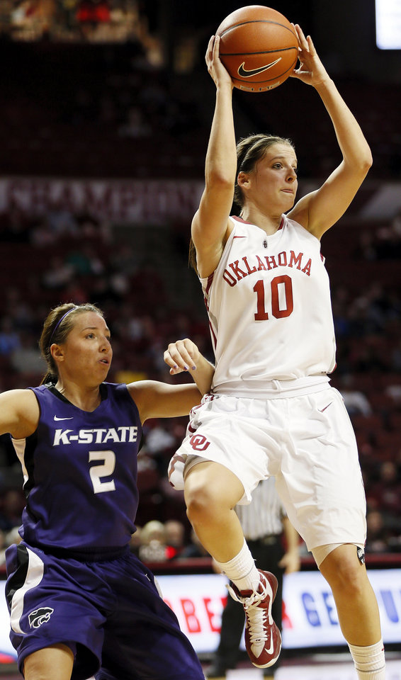 Oklahoma's Morgan Hook (10) passes away from Kansas State's Brittany Chambers (2) during an NCAA women's college basketball game between the University of Oklahoma (OU) and Kansas State at Lloyd Noble Center in Norman, Okla., Wednesday, Feb. 20, 2013. Photo by Nate Billings, The Oklahoman