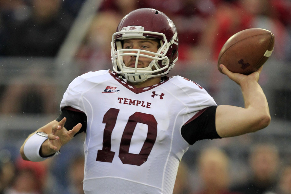 Photo -   Temple quarterback Chris Coyer (10) throws a pass during the first quarter of an NCAA college football game against Penn State in State College, Pa., Saturday, Sept. 22, 2012. (AP Photo/Gene J. Puskar)