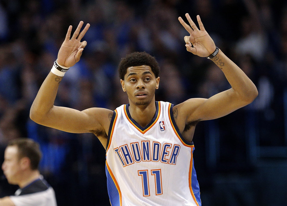 Oklahoma City�s Jeremy Lamb celebrates making a 3-pointer during the Thunder�s Dec. 8 victory over Indiana. Lamb is 30 of 73 from 3-point range this season. Photo by Sarah Phipps, The Oklahoman