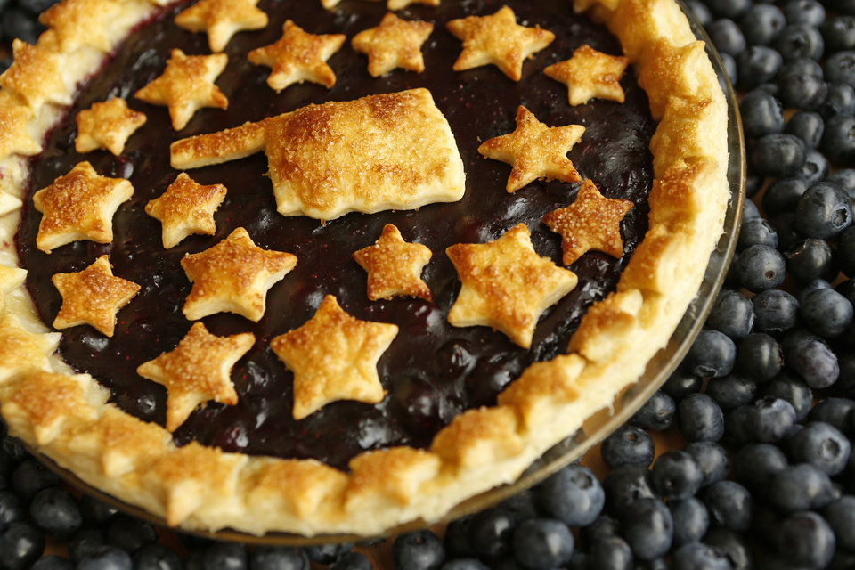 Photo -  A blueberry pie is made with blueberries from Broken Arrow's Thunderbird Berry Farm. Photo by Nate Billings, The Oklahoman   NATE BILLINGS -