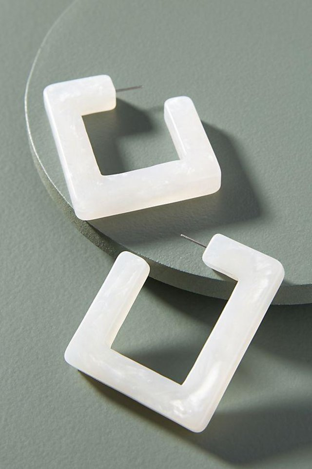 Photo - BaubleBar resin square hoop earrings, $36, from Anthropologie.