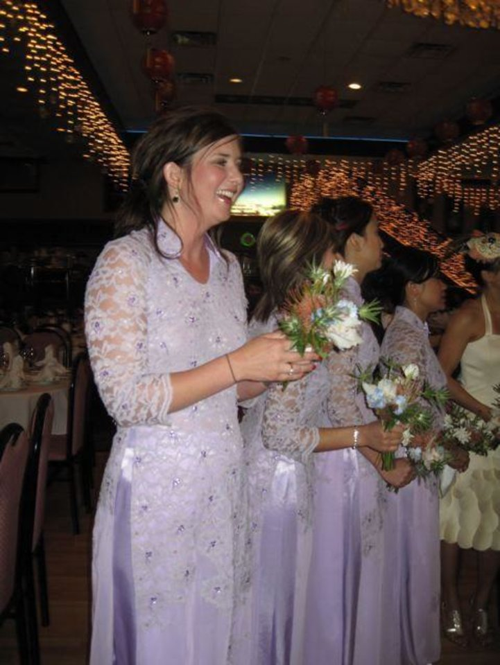 WEDDING RECEPTION....The bridesmaids were beautiful in their lilac dresses. (Photo by Helen Ford Wallace).