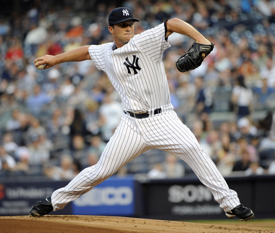 New York Yankees pitcher Adam Warren delivers the ball to the Chicago White Sox during the first inning of a baseball game Friday, June 29, 2012, at Yankee Stadium in New York. (AP Photo/Bill Kostroun)