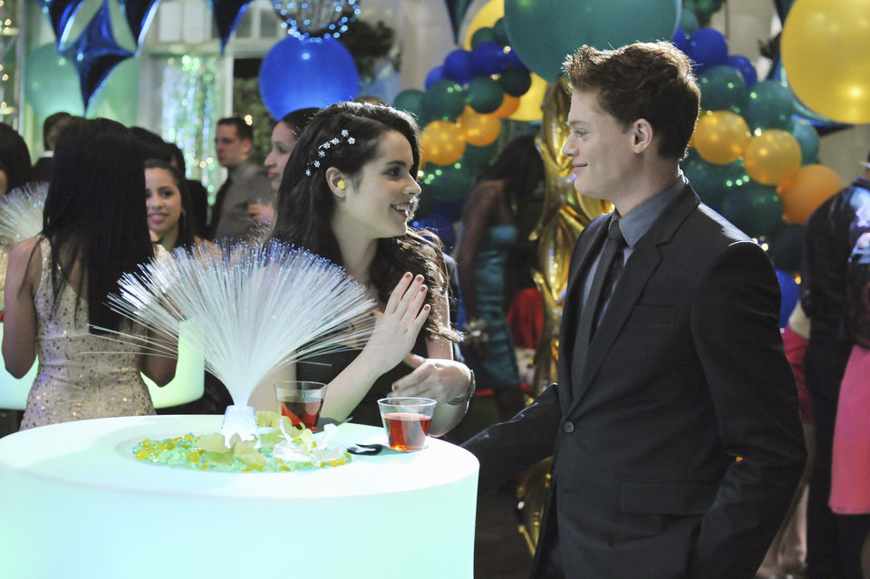"SWITCHED AT BIRTH - ""Venus, Cupid, Folly, and Time"" - It's prom time at Carlton School for the Deaf and Daphne is excited to ask Wilke to be her date, but things don't go as planned and Travis ends up joining them. Emmett asks Bay to be his guest, but what should be a magical night for the two of them, is at risk of getting ruined with Emmett's secret haunting him. Angelo's return causes more problems for the two families and Kathyrn and John's marriage is tested when their lawyer gets a little too close, on the Spring finale of ""Switched at Birth"" on ABC Family, airing Tuesday, March 20 at 8:00PM ET/PT. (ABC FAMILY/ERIC MCCANDLESS) VANESSA MARANO, SEAN BERDY"